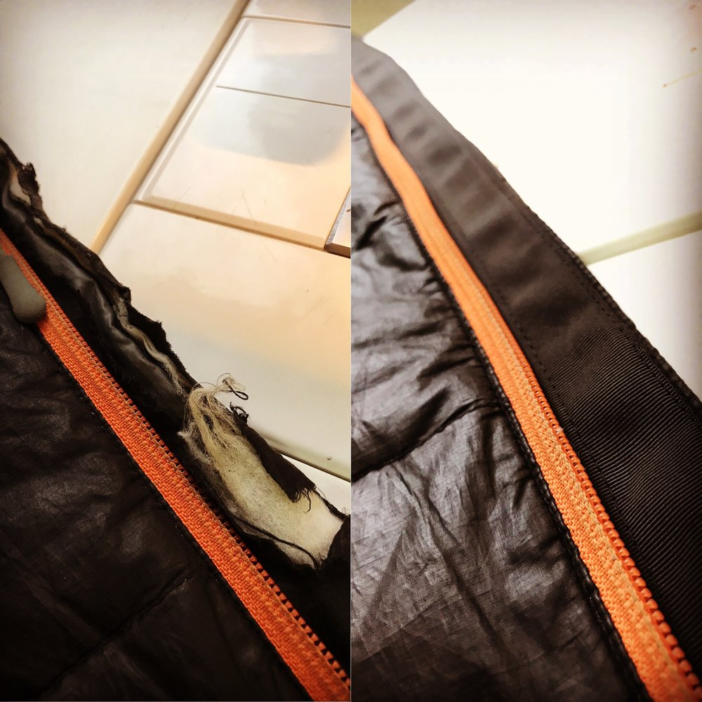 Grosgrain tape applied to the zipper flap of this puffy jacket