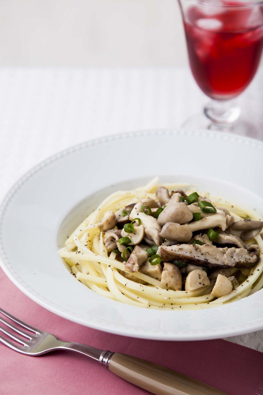 Espaguete de Pupunha com Cogumelos