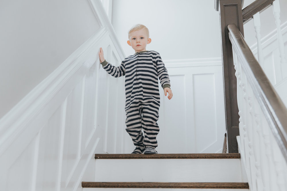 Toddler wandering downstairs