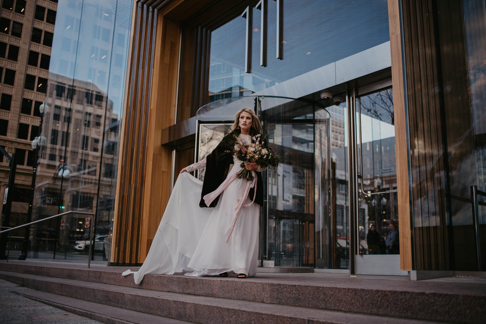 Downtown SLC City Bridal Shoot