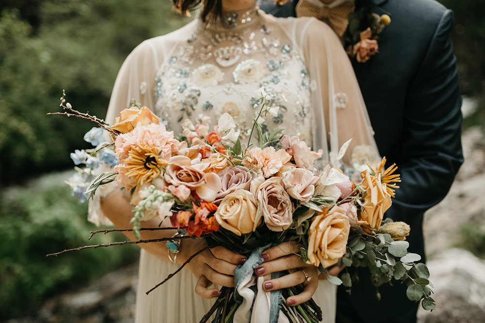 Utah Mountain Wedding bouquet by The Potted Pansy