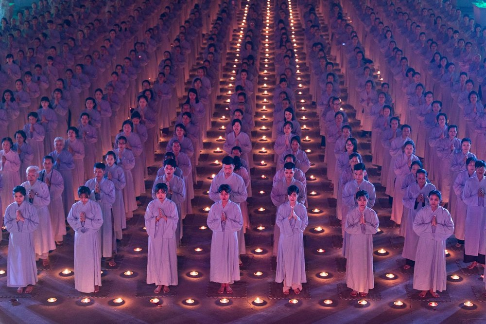 Tran Tuan Viet, a respectful ritual to pray for peace and health of mankind in Dien Quang pagoda, Bac Ninh province, of Northern Vietnam.jpg