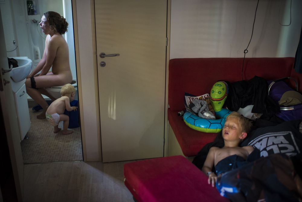 The photographer's family, early one morning on summer holiday in northern Italy. Photo by Søren Bidstrup.
