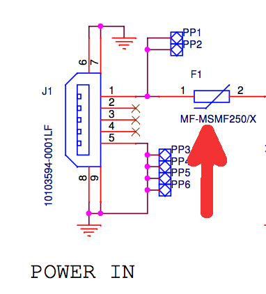 Input fuse from the Pi 3 power block schematic