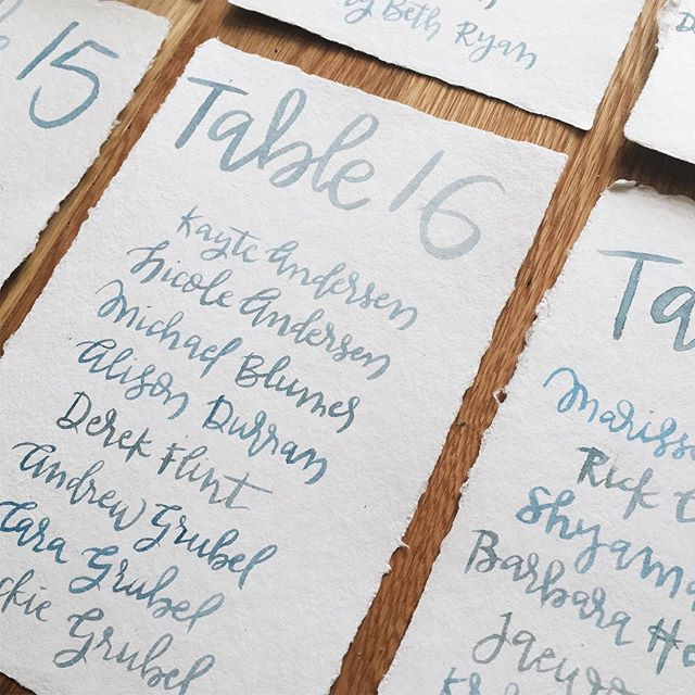Another closeup of that pretty blue-gray. 💙#lettering #handlettering #calligraphy #escortcard #illustration #mixedmedia #typography #papergoods #stationary #calligrapher #wintercraftco #placecard #wedding #tablescape #weddingdecor #eventdecor #namecard #handmadepaper #papergoods #invitation #weddinginvitation #weddingvendor #watercolor #brushcalligraphy