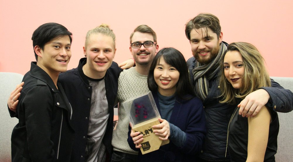 THE TEAM (from left)  Semone Bunnag (Director), Oliver Wegmuller (Sound Designer), Tom Battey (Narrative Designer), Qiao Yu (Artist), Ed Perryer (Animator), Belmin Pilevneli (Artist)