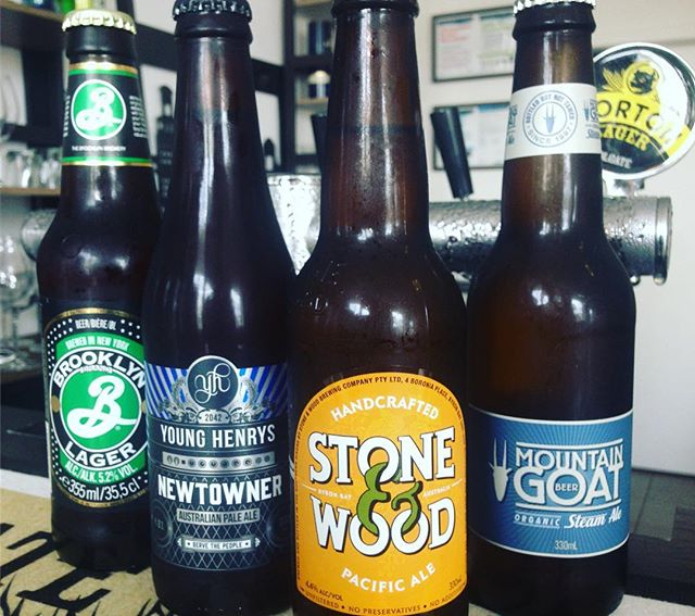 What's your beer of choice?4 of the best and more - drink in or take home#beer #holgate #stoneandwood#mountaingoat #brooklynlager#younghenrysbrewery#bottleshop#wine #winebar#thornbury #preston