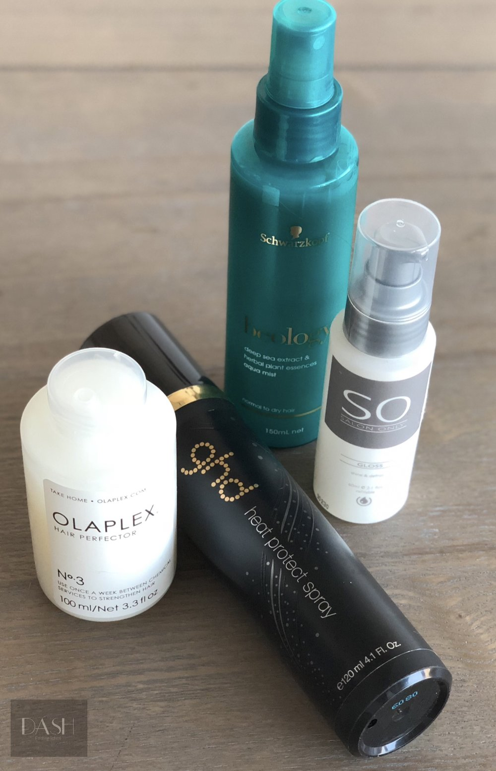 Olaplex Hair perfector No 3  ,   GHD Heat protection spray, Schwarzkopf Beology deep sea extract aqua mist, SO Gloss