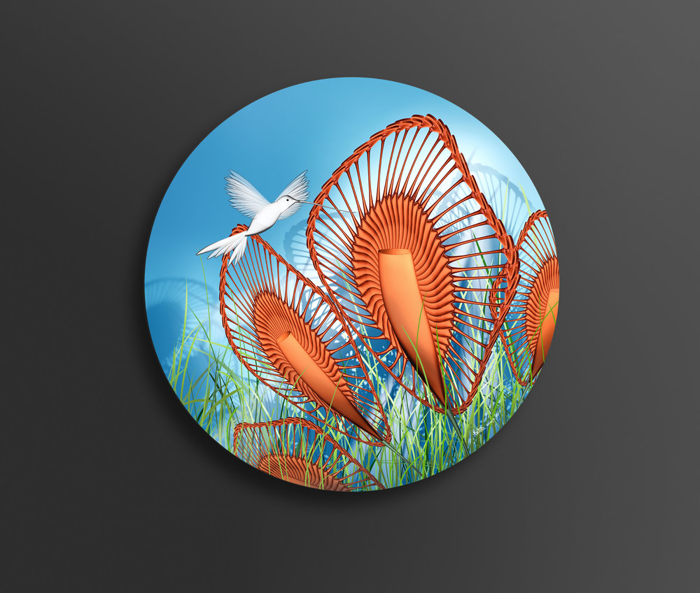 'HummingBird In Paradise' - 100cm diameter brushed aluminium artwork
