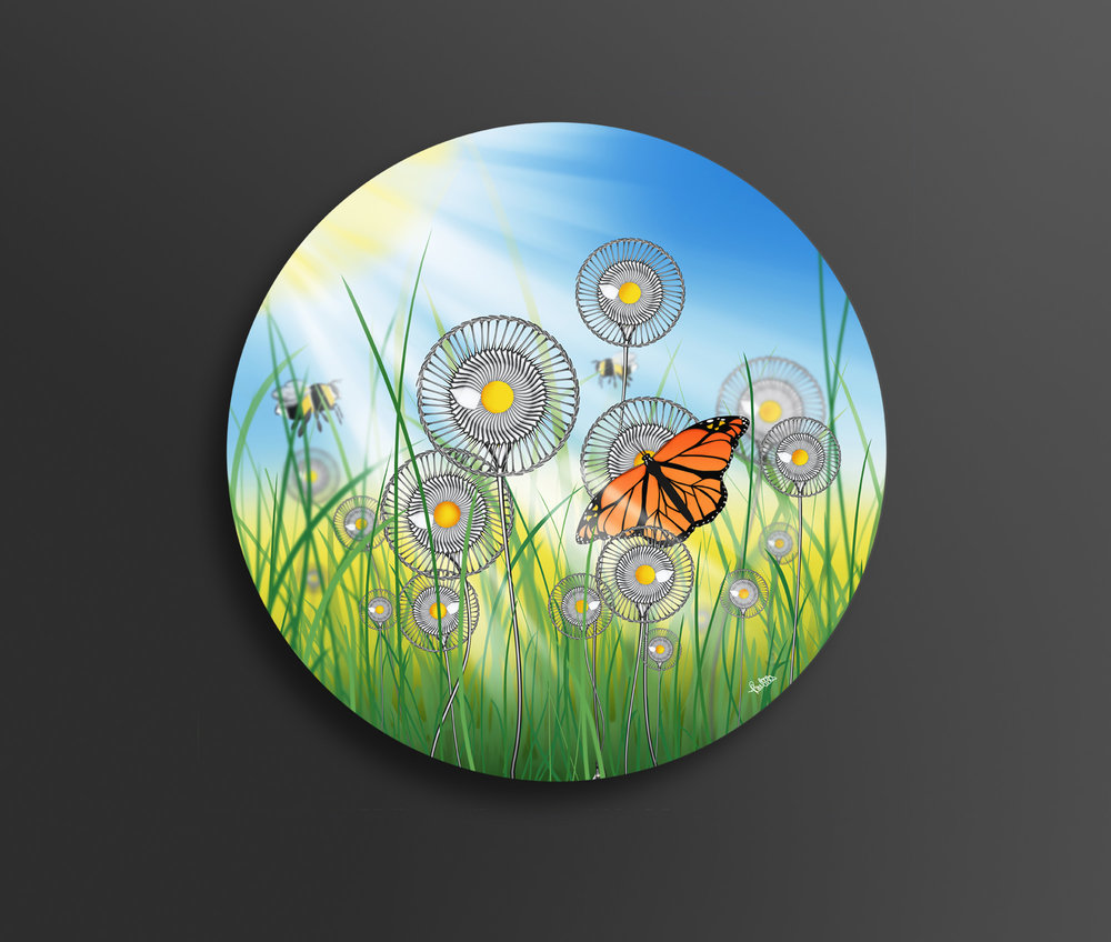 'Fragile Summer' - 60cm diameter brushed aluminium artwork