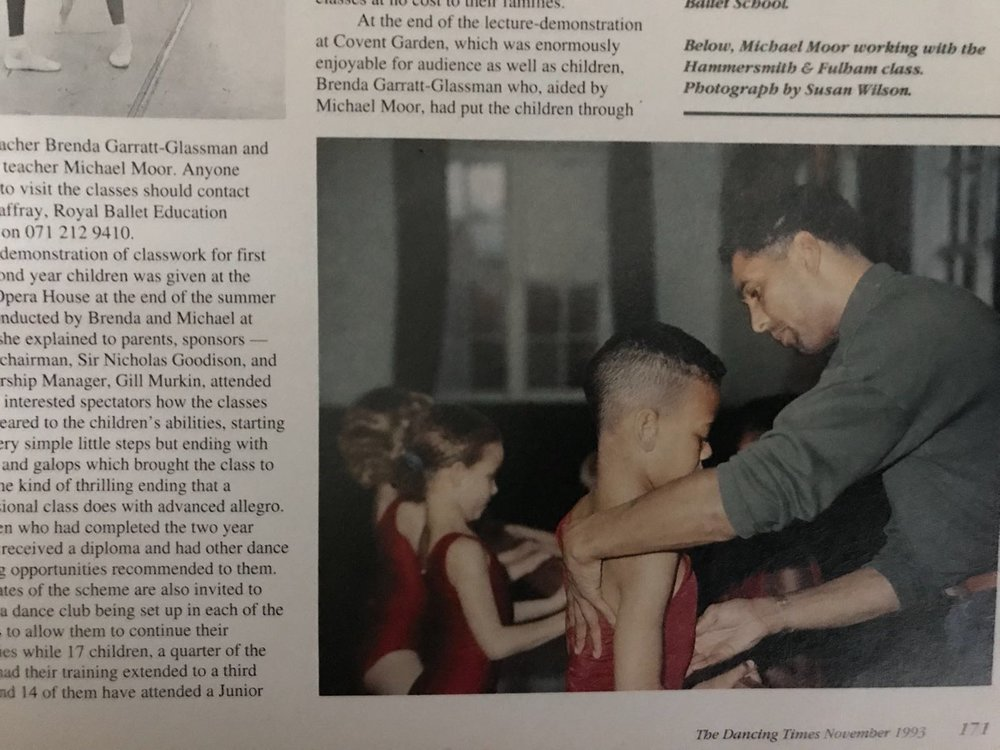 Michael Moor teaching with the Education Dept of the Royal Ballet in 1993 featured in the Dancing Times Magazine