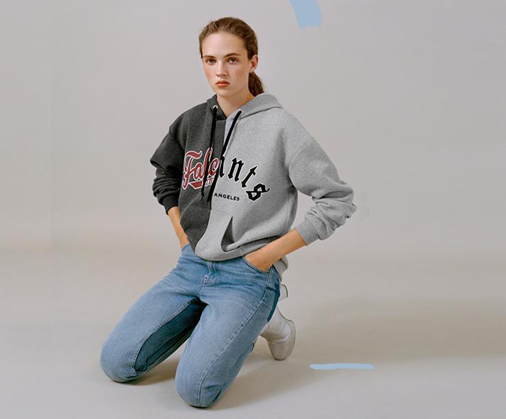 Topshop spliced hoodie