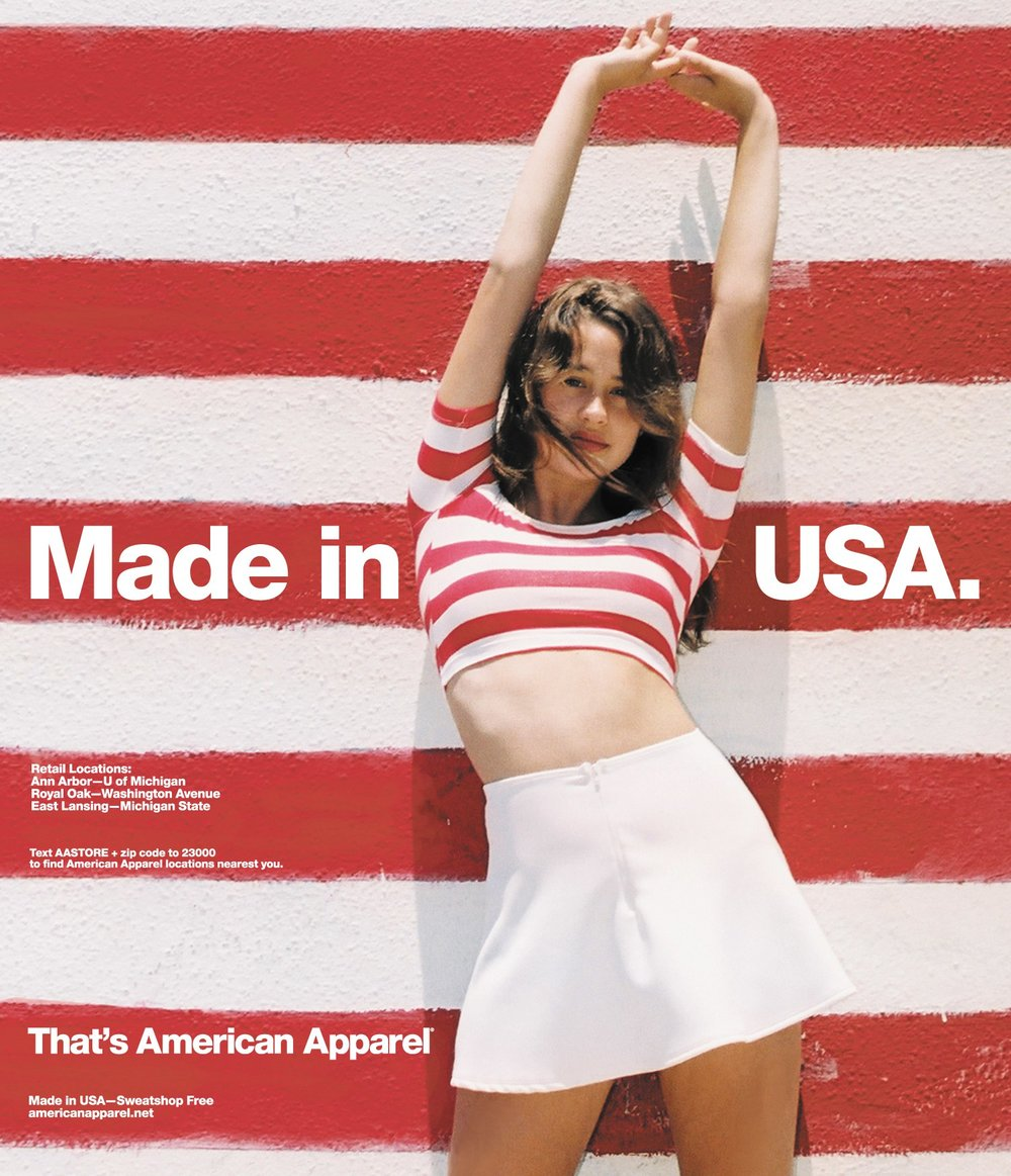 American Apparel advert. Made in USA