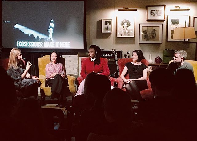Another fantastic panel talk at tonight's @ecosessions Hosted by @magnifeco  featuring @johnnysfashionstudio @cadet @mimiplange and @madeinnyfashion  #ethicalfashion #madeinnyc #madeinamerica #whomademyclothes #ecosessions