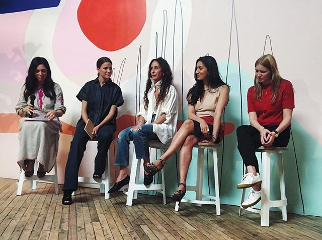 Amazing women at tonight @passerbuys discussion at @canalstreetmarket with @thecut @cameronrussell @marahoffman @lesoukny @melodyserafino 🙌🏻#ethicalfashion #sustainability #invogue #consciousstyle