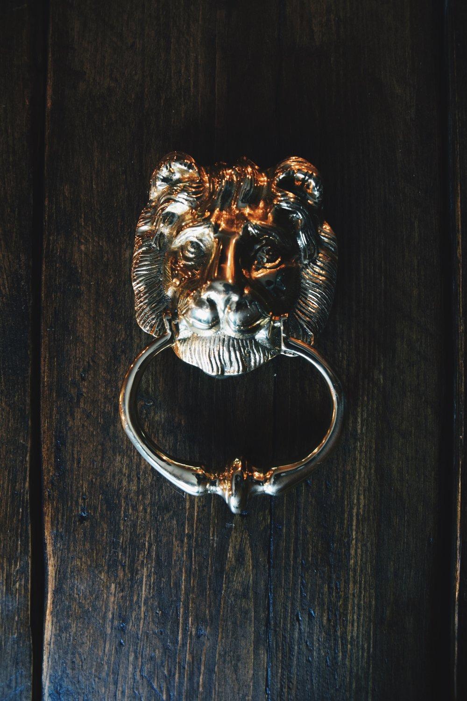Solid Brass Lion Head Door Knocker