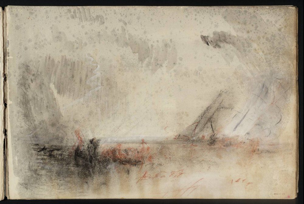 J.M.W. Turner, Untitled (from the Whalers Sketchbook), 1844-5. Chalk and Watercolor on Paper. 222 x 331 mm.  Courtesy The Tate Britain.