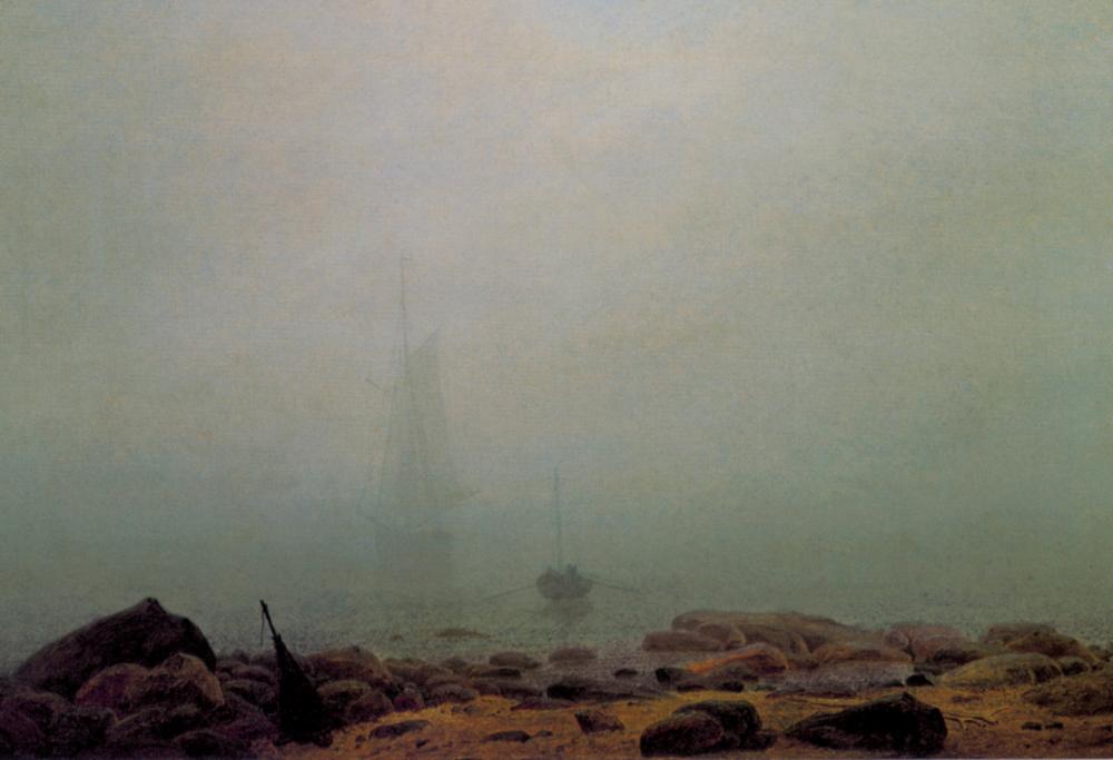 """Caspar David Friedrich, Nebel (fog), 1807. Oil on canvas, 13"""" x 20. Courtesy Neue Pinakothek, Munich."""