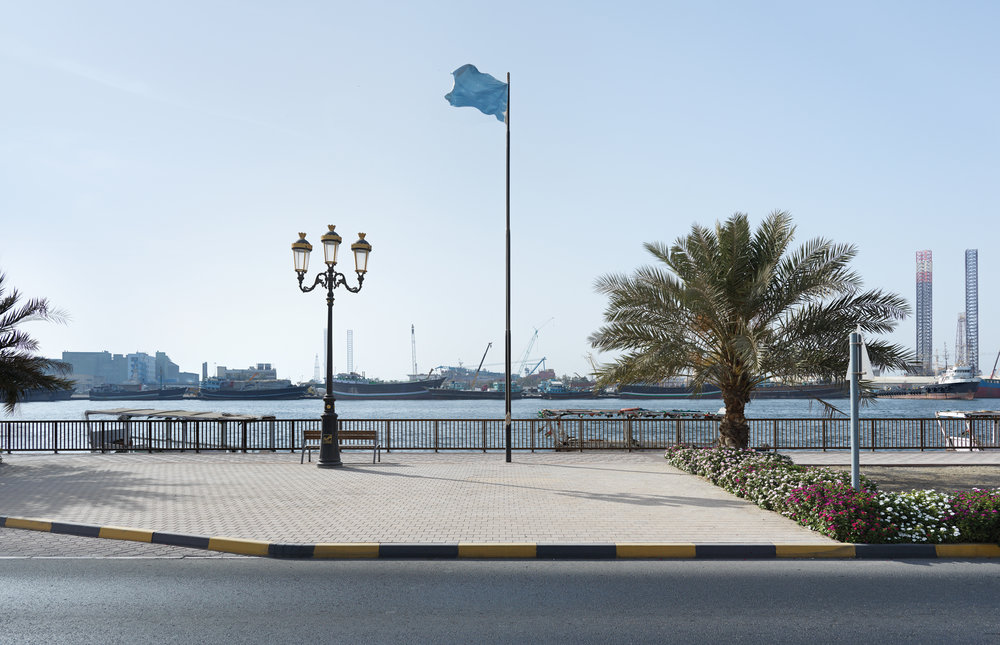 Byron Kim, Sky Blue Flag, 2015.  Acrylic on canvas and flagpole.   Commissioned by Sharjah Art Foundation