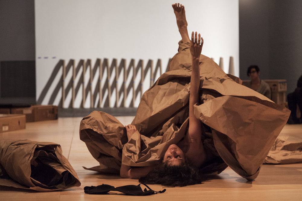 Janine Antoni in collaboration with Anna Halprin , Paper Dance , 2013 Premiered at The Fabric Workshop and Museum, Philadelphia in 2016 Photographed by Carlos Avendaño. Courtesy of the artists and Luhring Augustine, New York