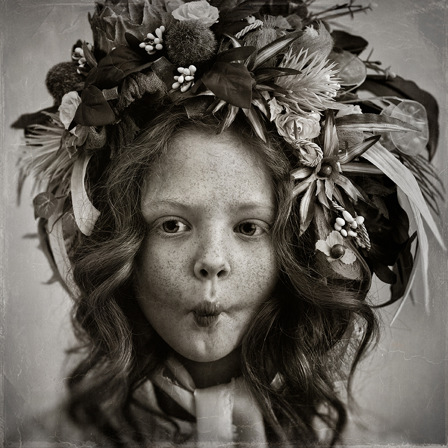 Vintage black and while inpsired child portrait floral bonnet child photography pixl