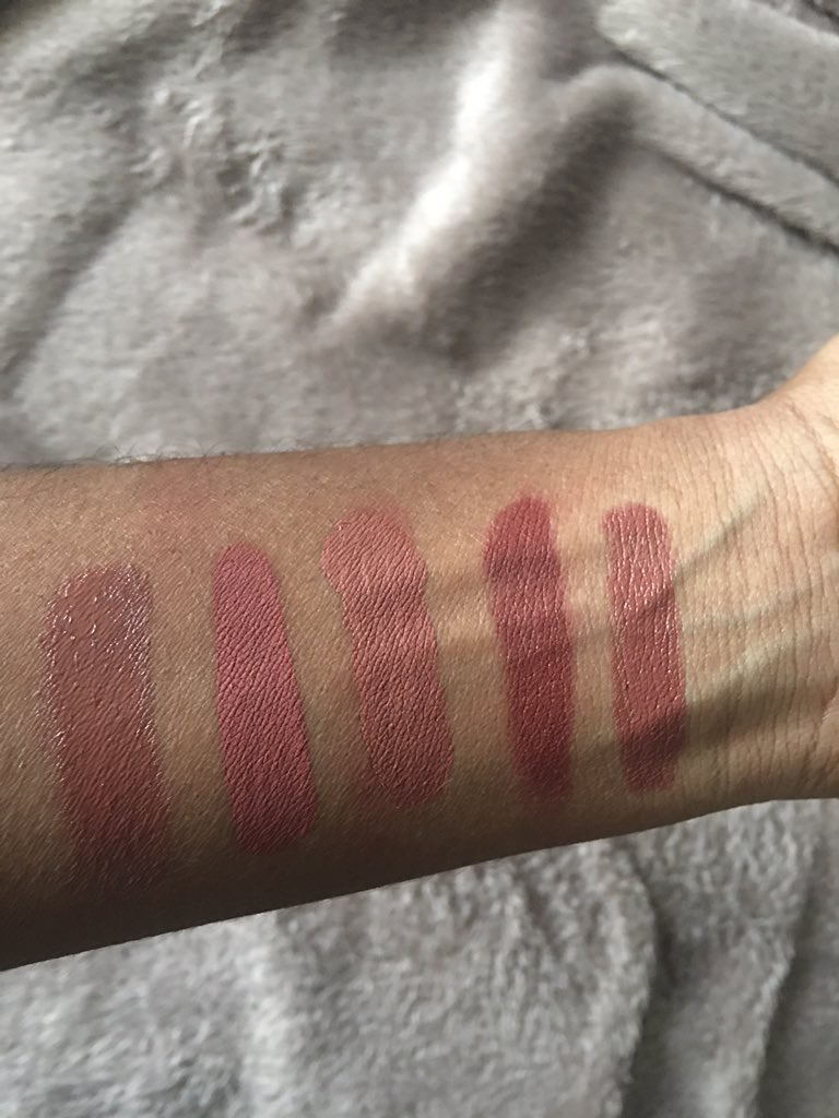 LTR: Touch by Mac,  Berries n' Cream by Bellegant Cosmetics, Ashton by ABH, Flesh 3, NARS Bansar