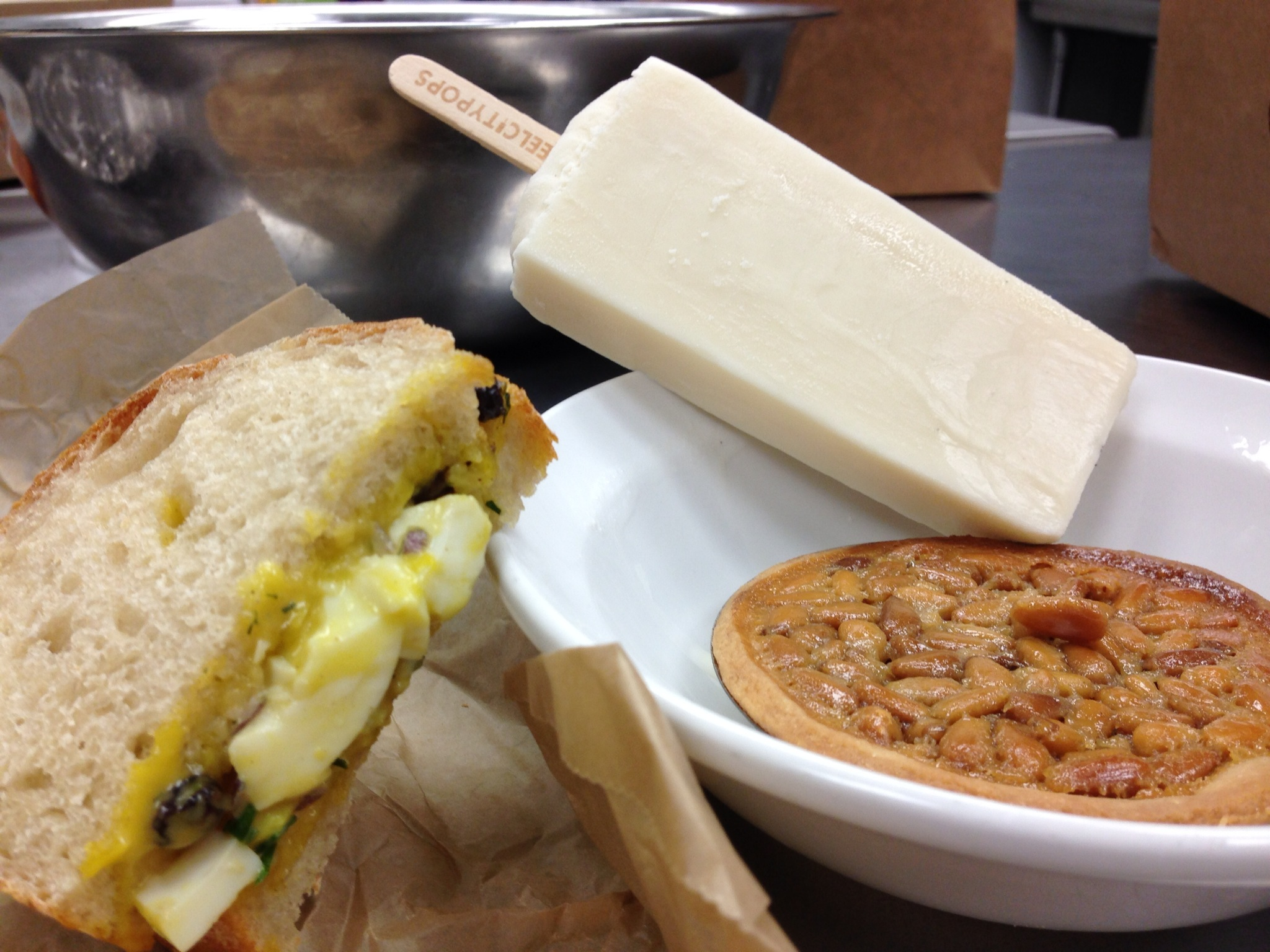 Egg salad sammich, Steel City pop and pine nut tarte delivered with love.