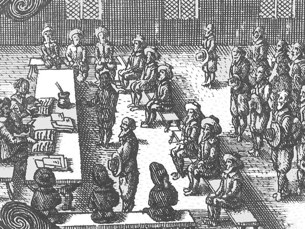 Eksempel på et Tinghus fundet i juridisk håndbog Osterssøn Veylle, 1665 (Dansk Folkemindesamling ved Det Kongelige Bibliotek)