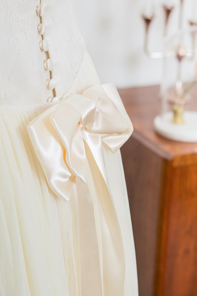 Lucie Fouquet robe Ekaterina double nœud de ruban de satin boutons recouverts