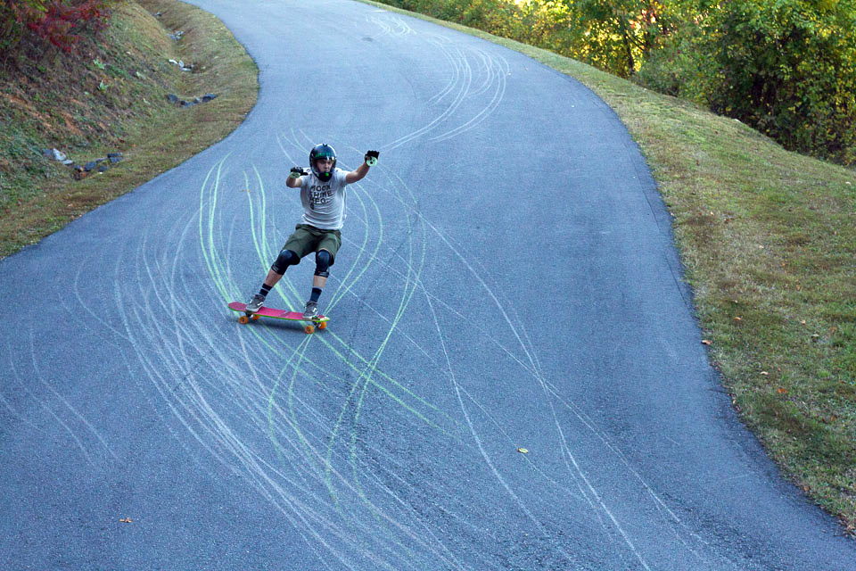 Busting a fat heelside slide. That thane tho!