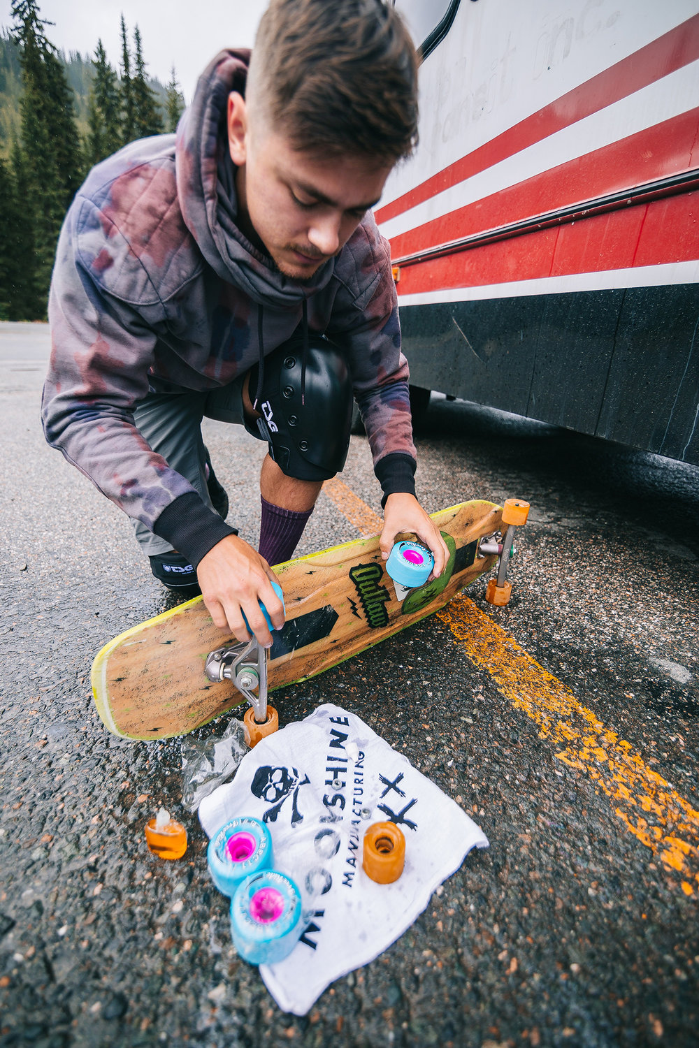 Brandon prepping for wet pavement.   Photo:  Matt Boozer