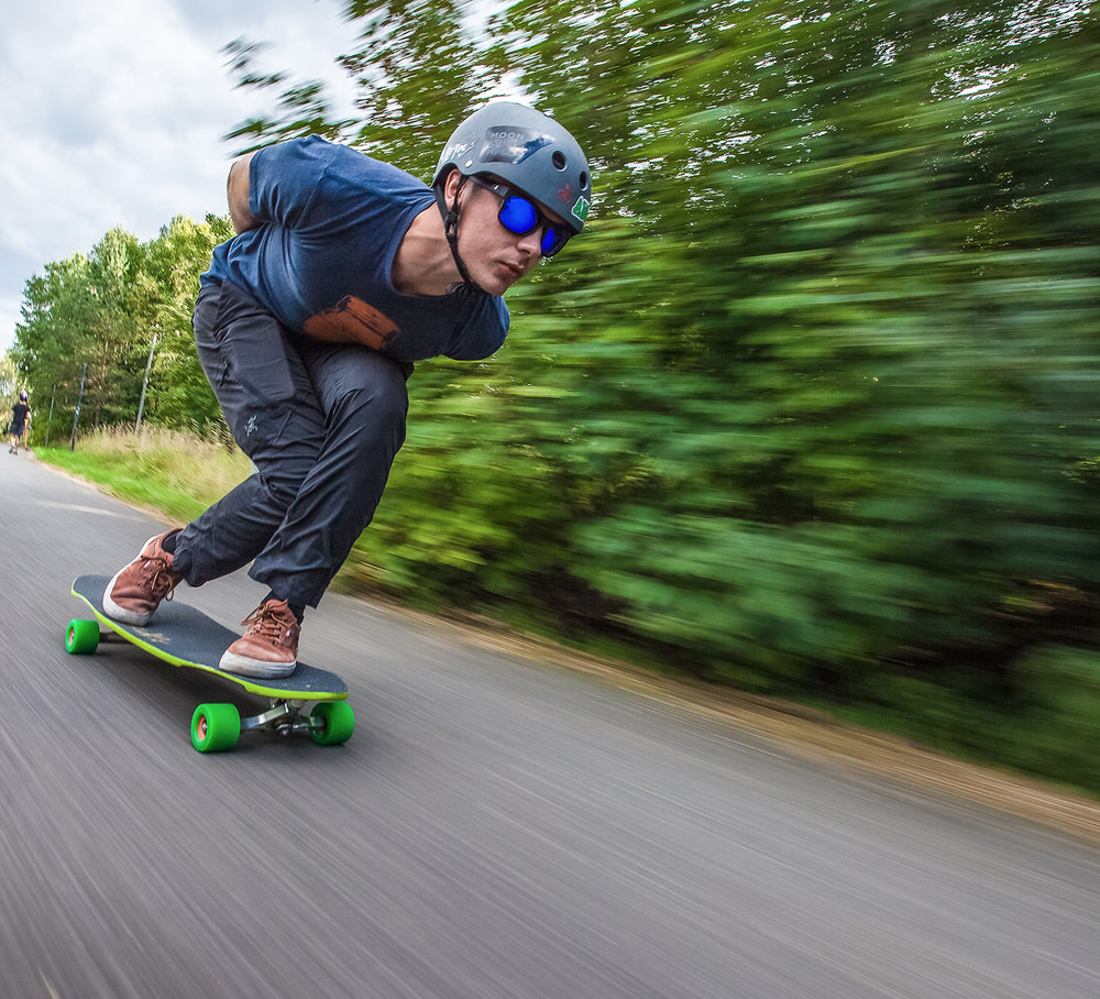 Cruising downhill in Stockholm.  Photo:  Lamin Cassama