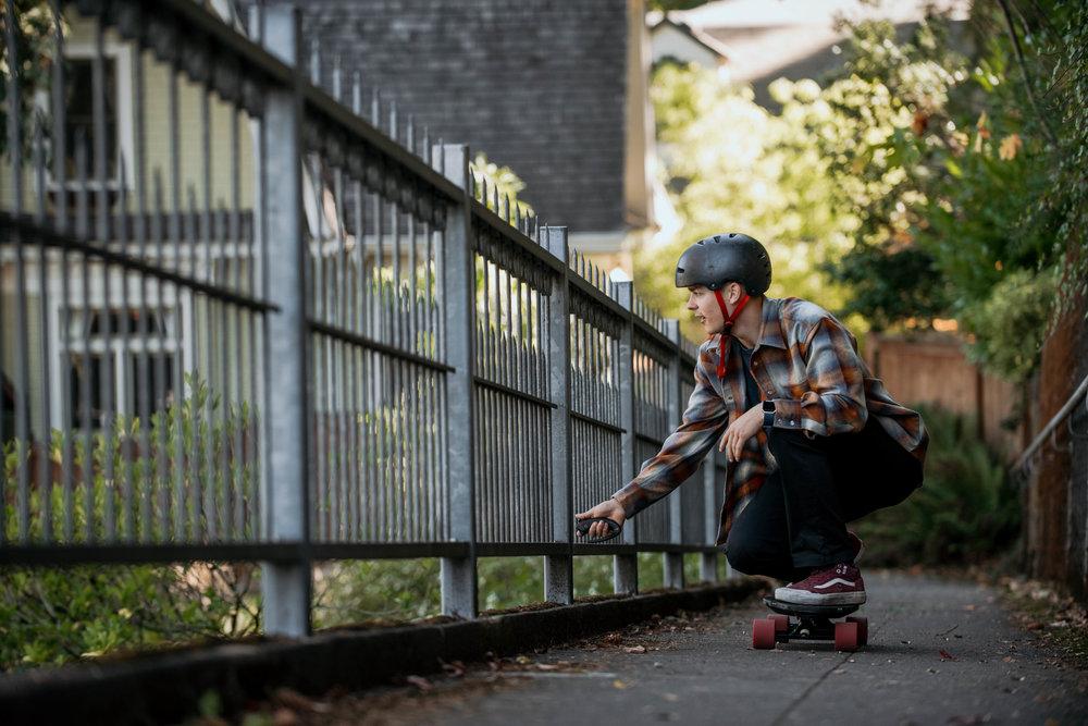 Portland E-Skate Inboard uphill