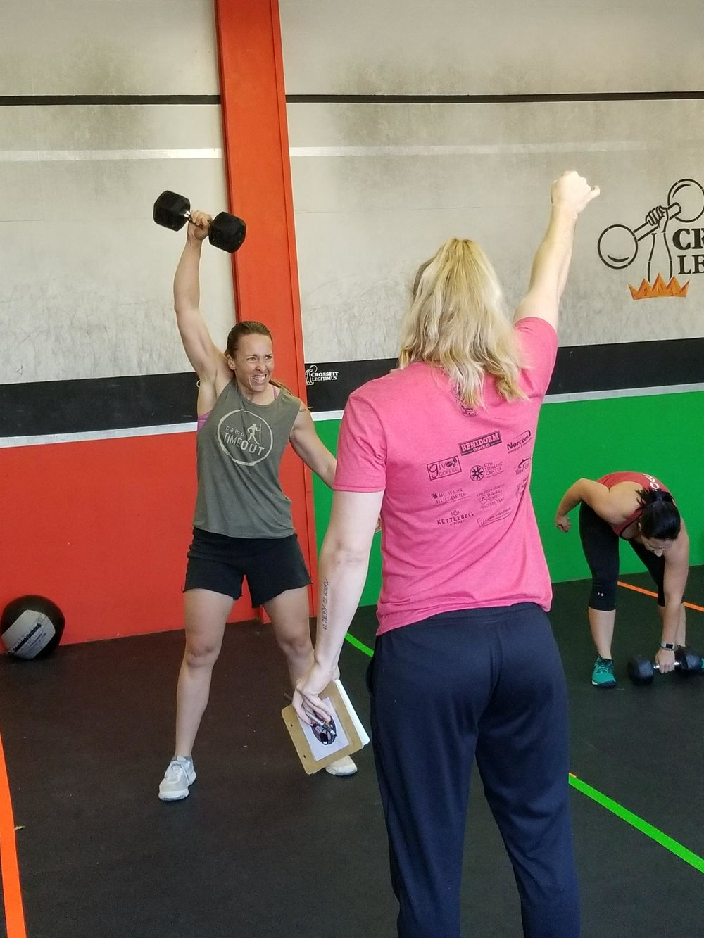 "Pictured is our first sponsored athlete, Michelle Sangster vicino, at the ""mama said knock you out"" competition at crossfit legitimus in Canton, Connecticut."
