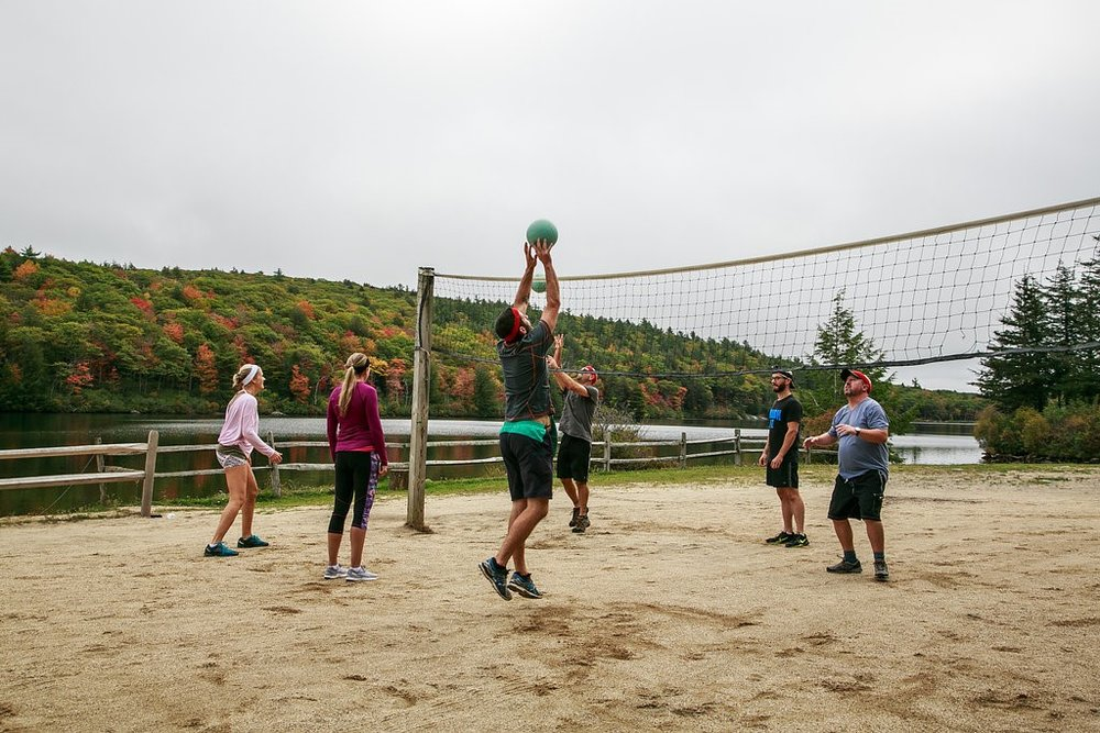 "A friendly ""pick-up"" game of volleyball."