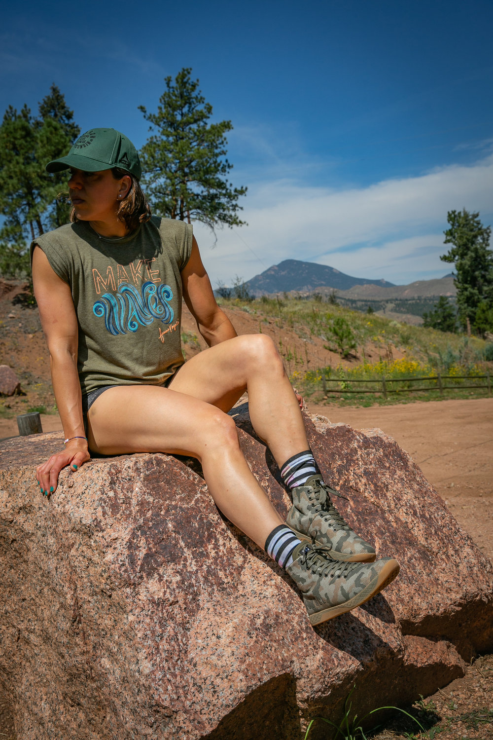 Joy Parrish of Girls Gone WOD Podcast on point with the NOBULL high-top woodland camo trainer.