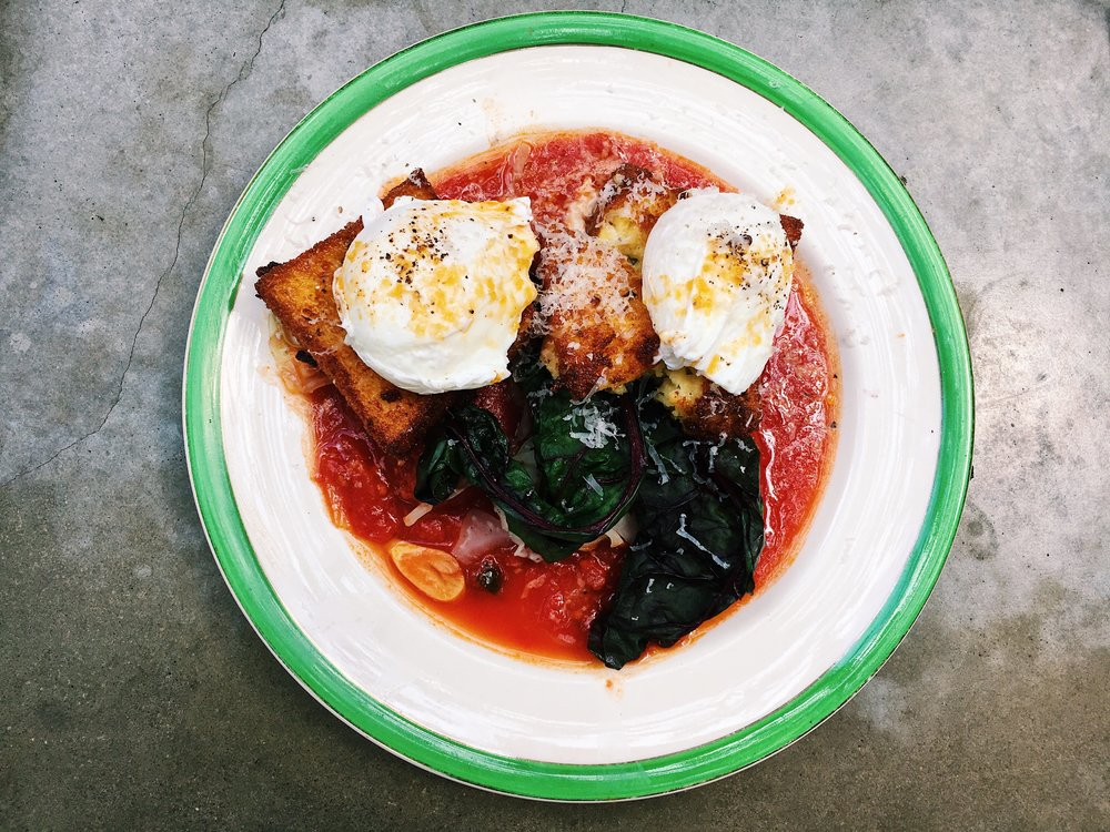 Tatiana's choice: Polenta with Tomatoes and Poached Eggs