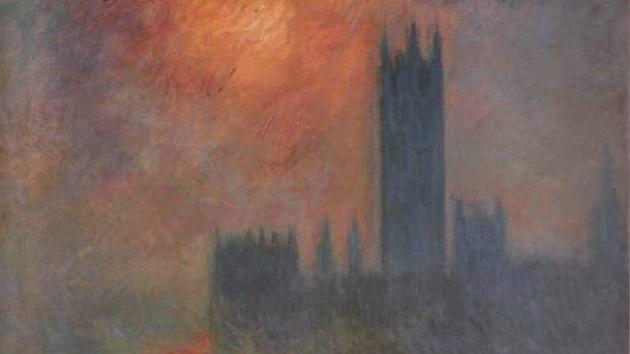 Sun breaking through the fog, Houses of Parliament . Monet, oil on canvas c. 1904.