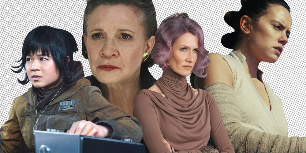 The Women of Star Wars - Kelly Marie Tran as  Rose Tico , Carrie Fisher as  Leia Organa , Laura Dern as  Vice Admiral Holdo  and Daisy Ridley as  Rey