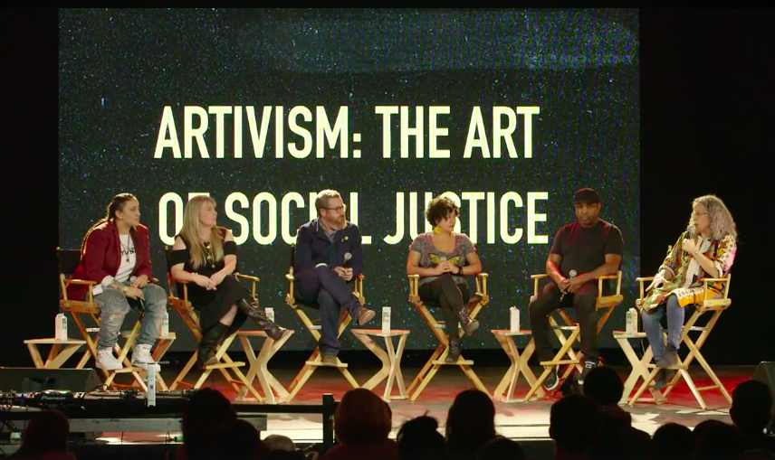 "Chuck D ,  Gina Belafonte ,  Favianna Rodriguez , Lana Ludovico and  Yosi Sergant  talk ""Artivism: The Art of Social Justice"" as they amplify intergenerational artivists, luminaries who are working at the intersection of art, organizing, and civic voice."
