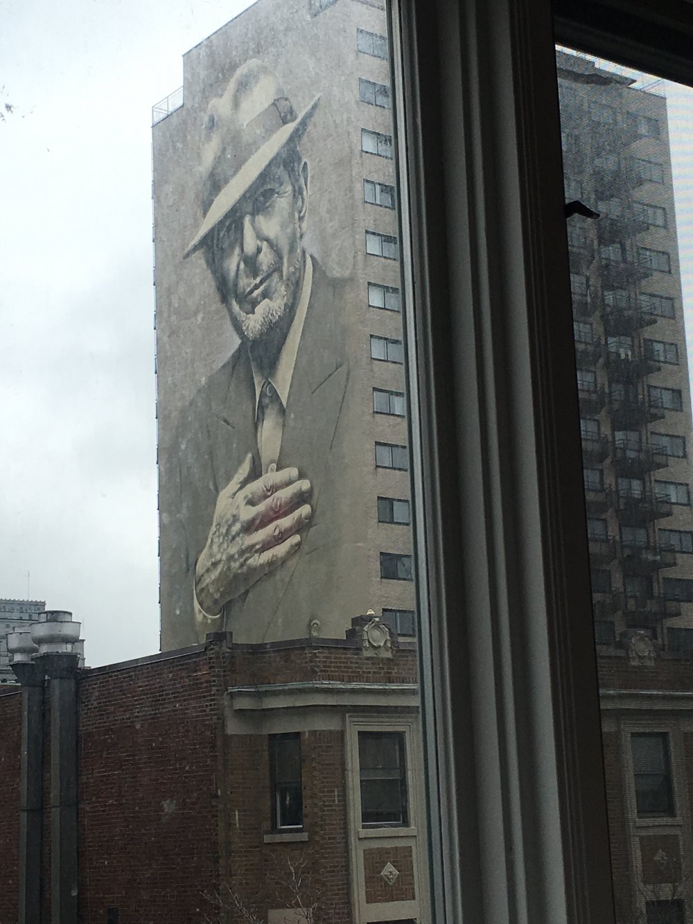 Leonard Cohen  kept a watchful eye over The Alternative's proceedings, through the windows of Concordia University, Montreal