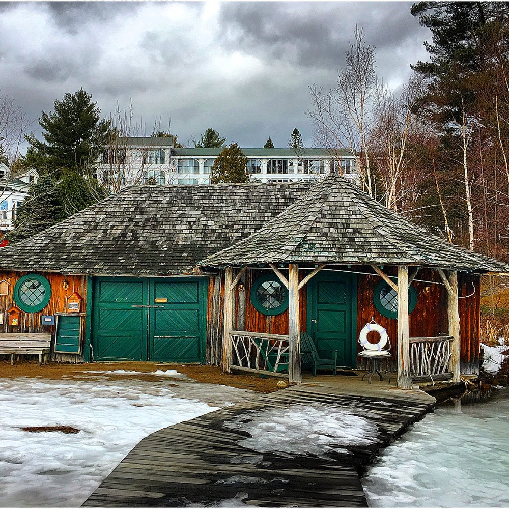 Private beach at Mirror Lake Inn, Lake Placid, New York