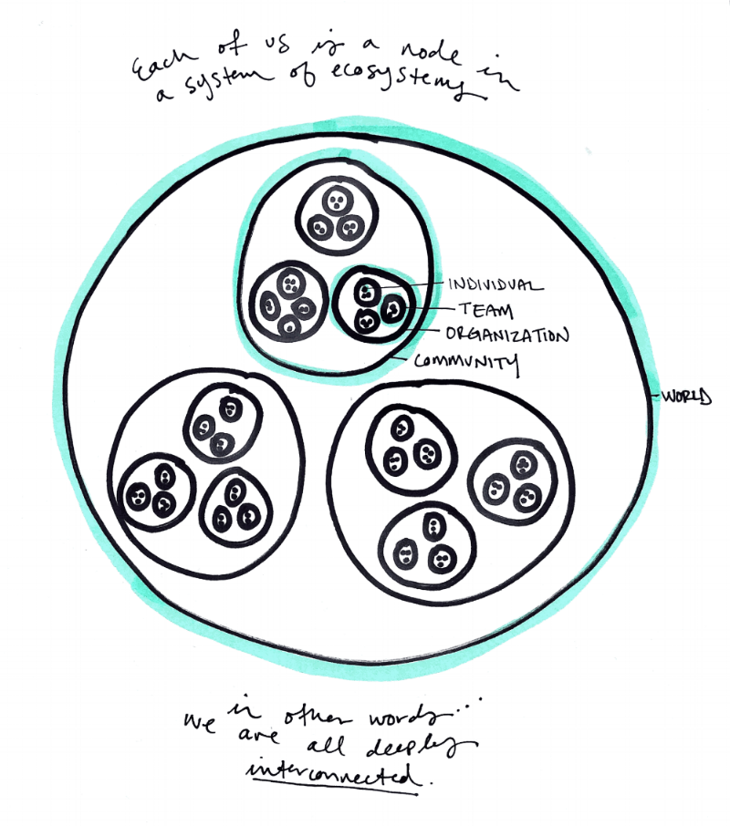 "Image Description: Drawing of circles within circles within circles representing layers of ecosystems: individual, team, organization, community, and world. Text reads, ""Each of us is a node in a system of ecosystems. In other words...we are all deeply interconnected."""