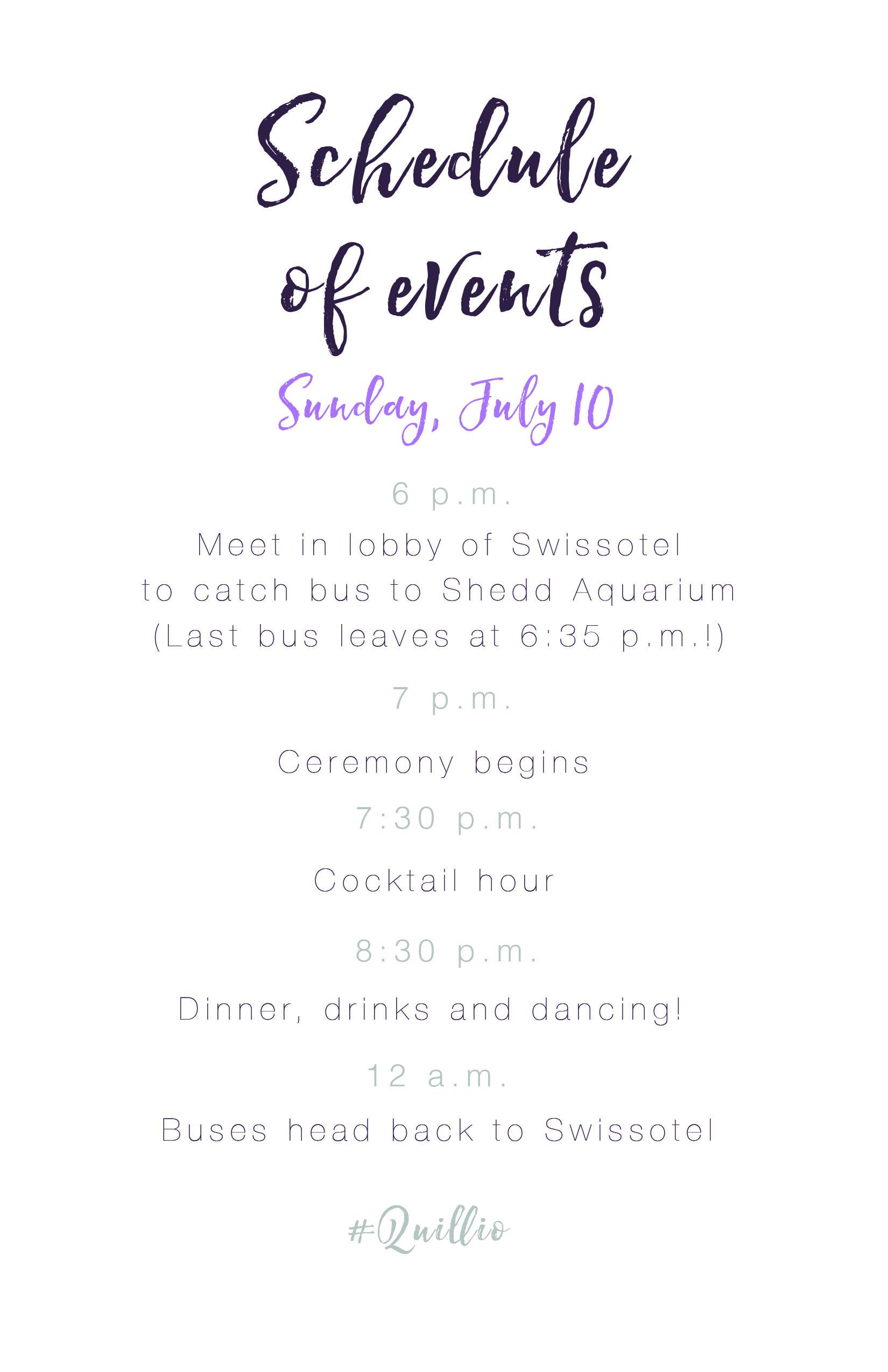 Quillio Schedule of Events 5.5x8.5