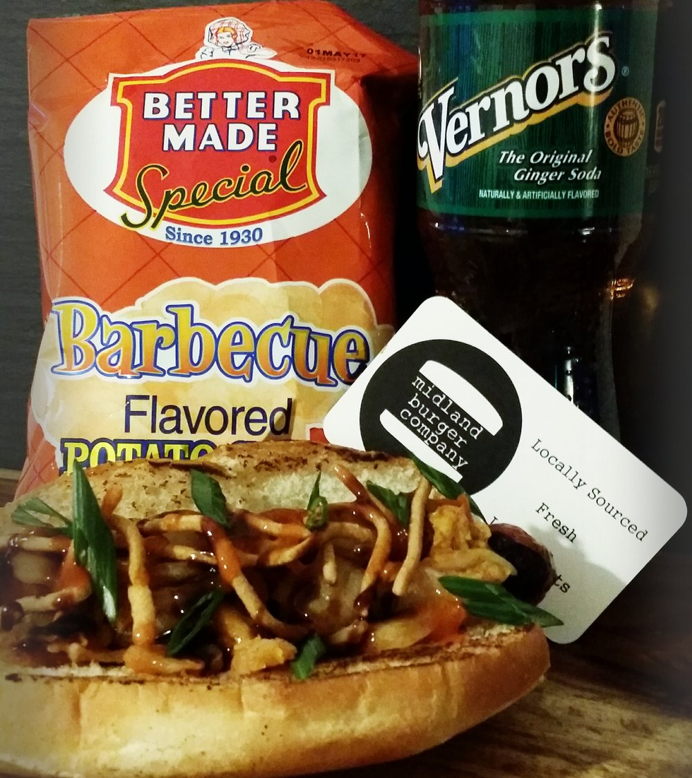 Kimchi Dog with a side of Better Made chips and Vernors