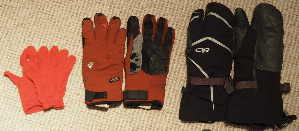 Cheap Liner Glove, Mountain Equipment Randonee Gloves and Outdoor Research High Camp 3 Finger Mitts