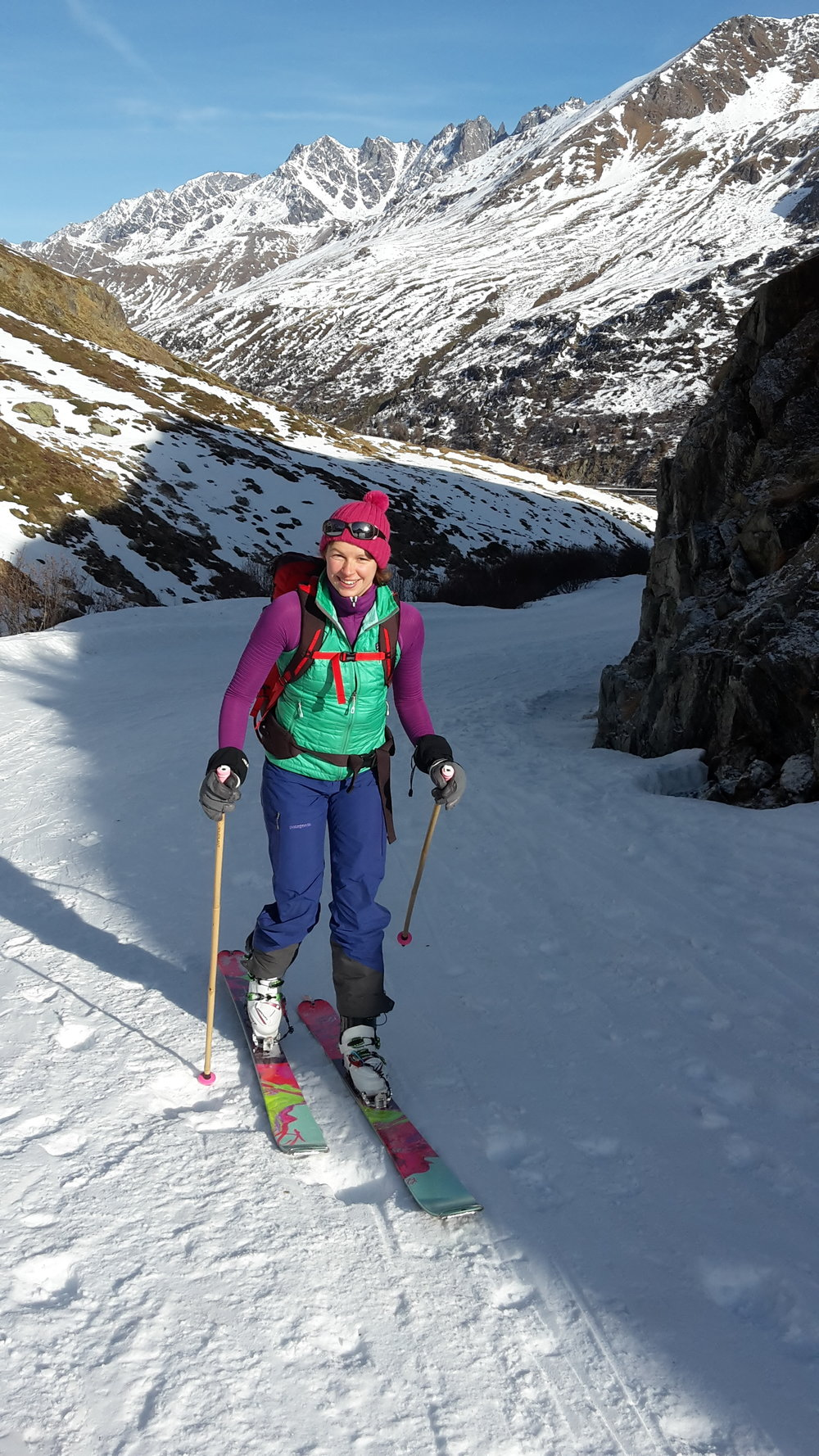 Lucy ski touring up to the St Bernard's Monastery