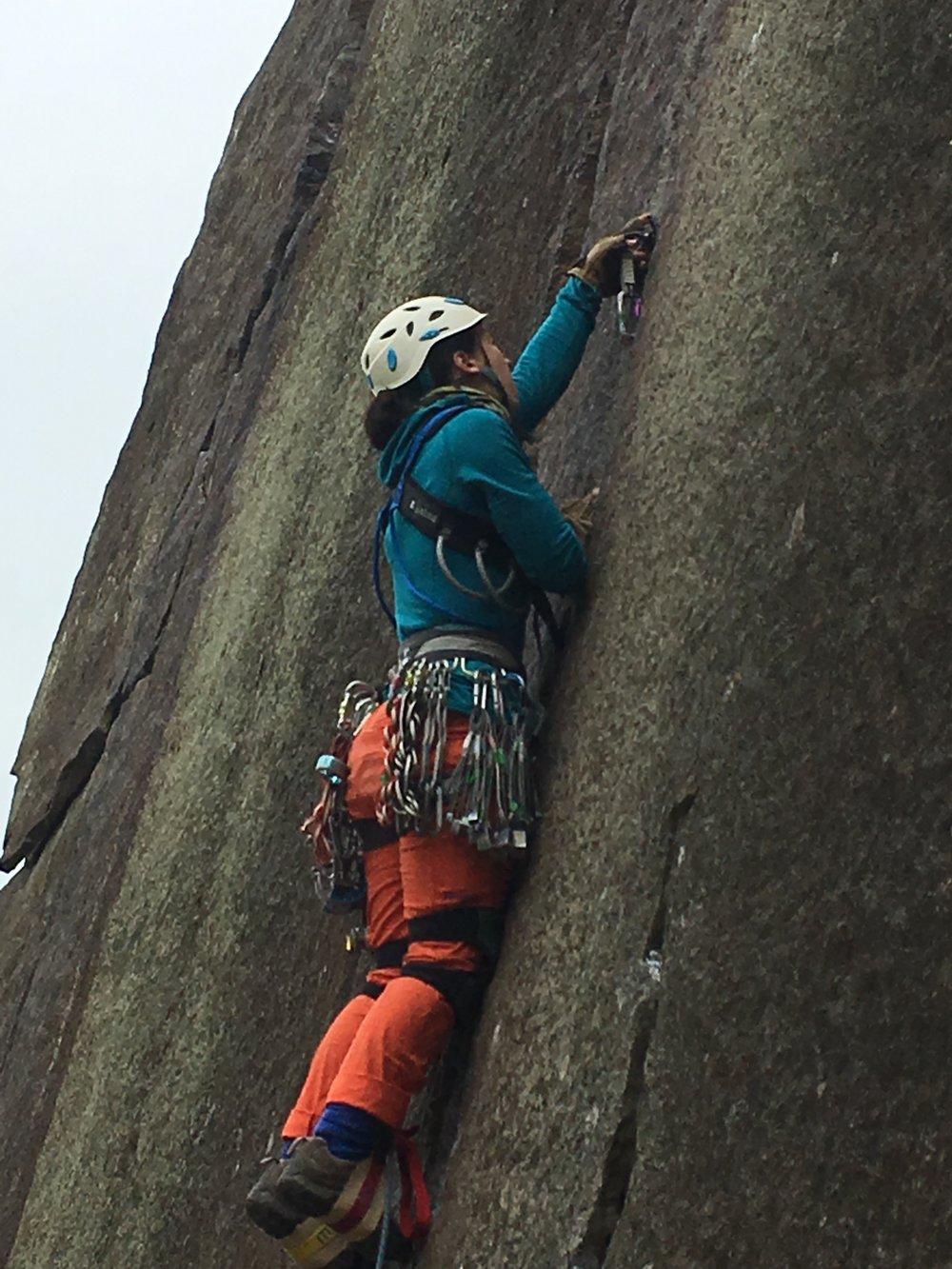 Sarah giving this aid climbing a go.
