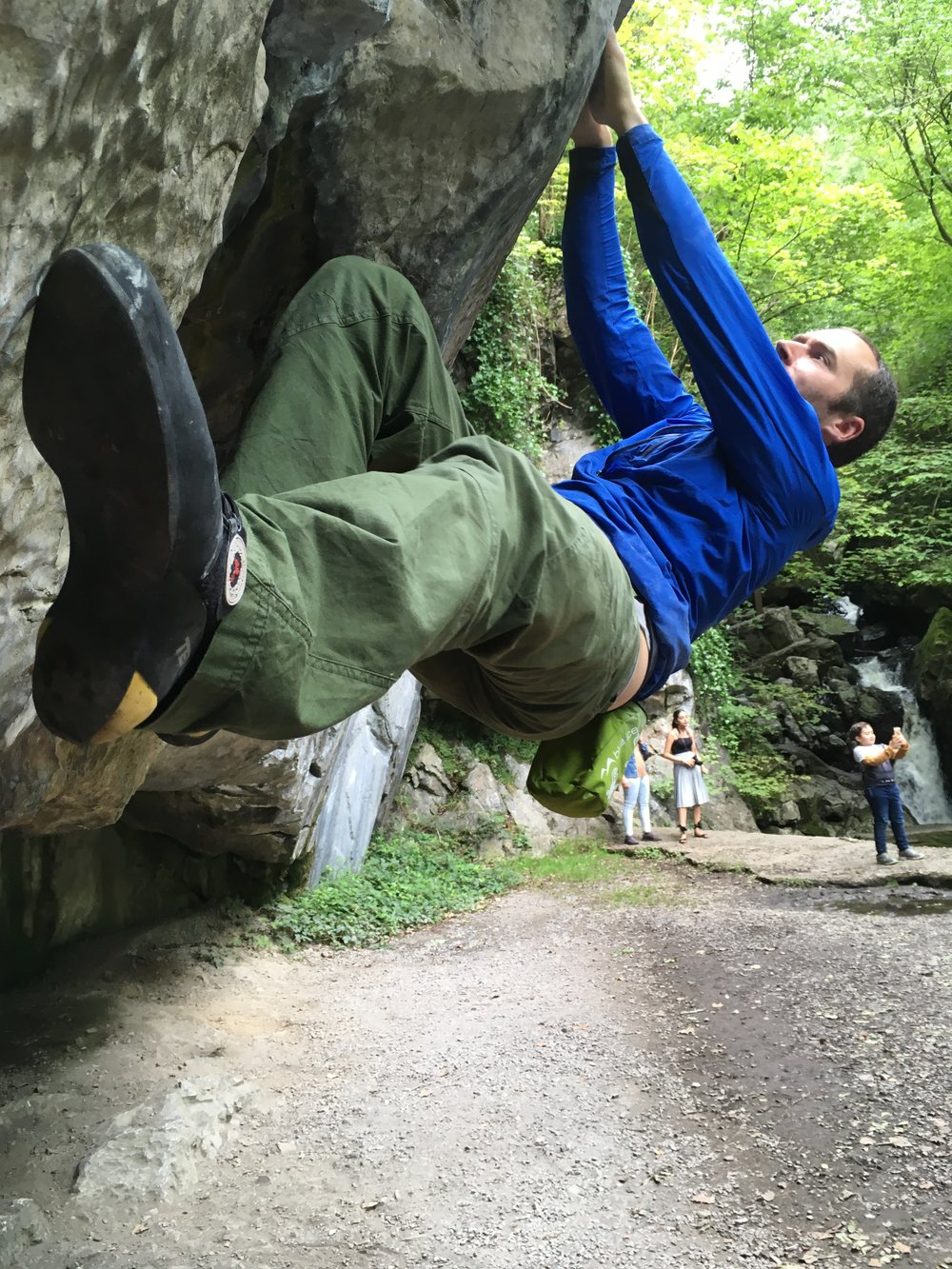 Bouldering at Dinas Rock in South Wales.