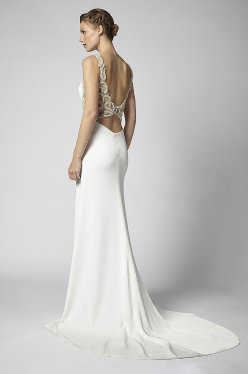 cf6a50522b6 Sheath bridal gown in ivory luxury crepe